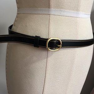 Ann Taylor Black and Gold Skinny Belt